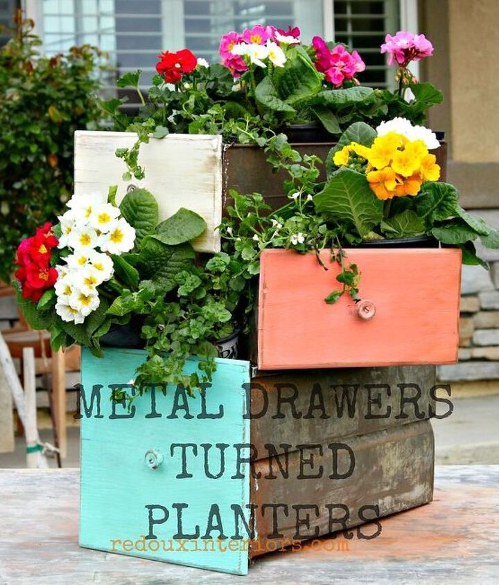 Old Metal drawers were painted in CeCe Caldwells colors and repurposed as planters.