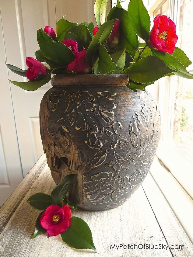 redesigned teak vase using wood icing for texture, chalk paint, crafts, home decor, painted furniture, repurposing upcycling, woodworking projects, Wood Icing Textura Paste adds a wonderful raised texture to most any item Chalk Paint for color and a pretty floral stencil complete this easy project