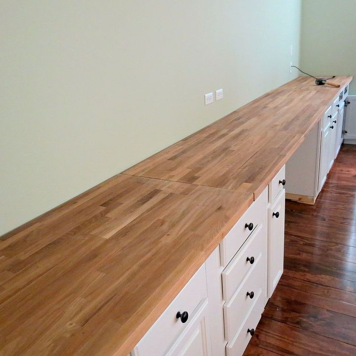 diy built in bookcases, diy, shelving ideas, woodworking projects, Butcherblock countertop from IKEA I stained it a dark walnut Then three coats of polyurethane