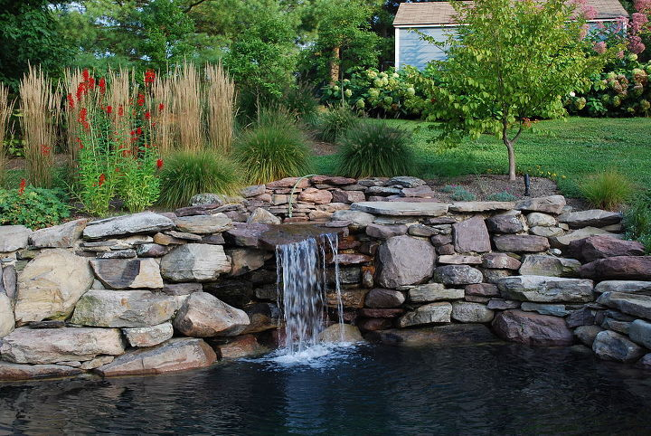 here s the waterfall of our swim pond it is built like a pond but has a pool, ponds water features, pool designs, Here s the waterfall of our Swim Pond It is built like a pond but has a pool filtration system We have created a very relaxing outdoor living space