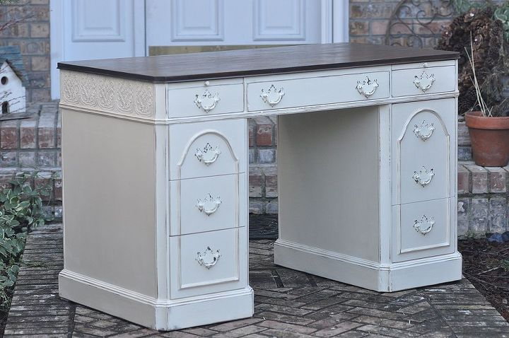 elegant country chic desk redo, painted furniture