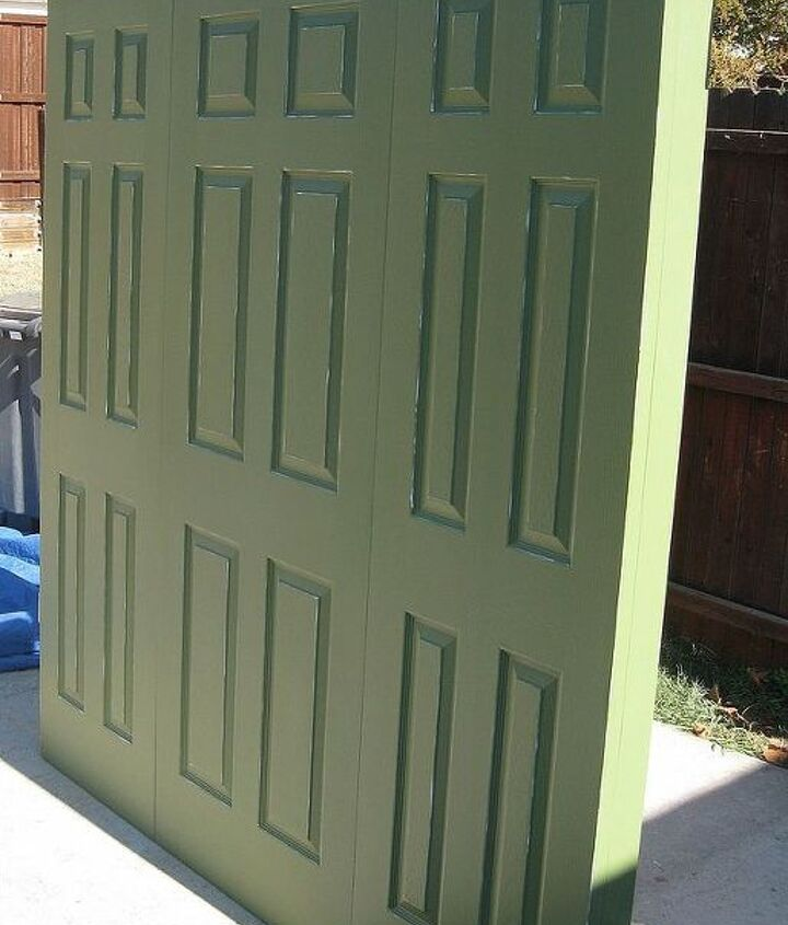 king size 3 door headboard olive green with subtle distressing, painted furniture, repurposing upcycling, shabby chic