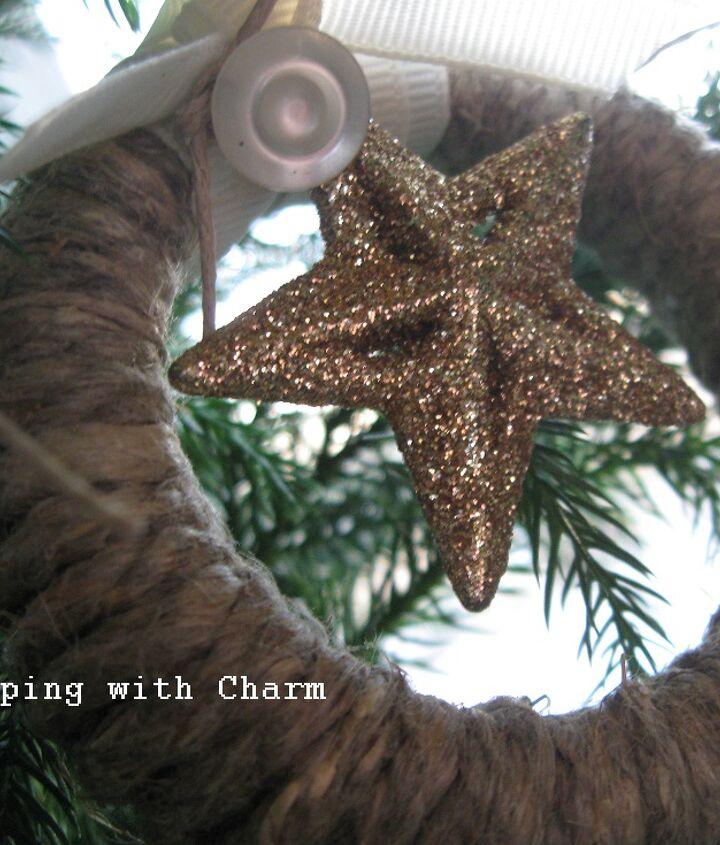 twine wreath ornaments mason jar lids repurposed, crafts, repurposing upcycling, seasonal holiday decor, wreaths