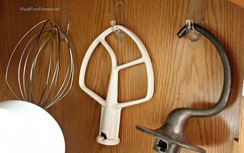 organize kitchen aid accessories with command hooks, kitchen design, organizing, Make sure to do this on an inside wall or it will swing every time you open or close the cupboard