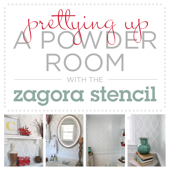 prettying up a powder room with the zagora stencil, bathroom ideas, painting