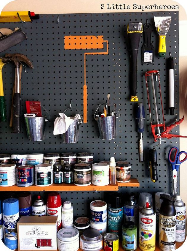 Use a pegboard to store all paint tools. And 2 shelves for storage of spray paint and paint samples.
