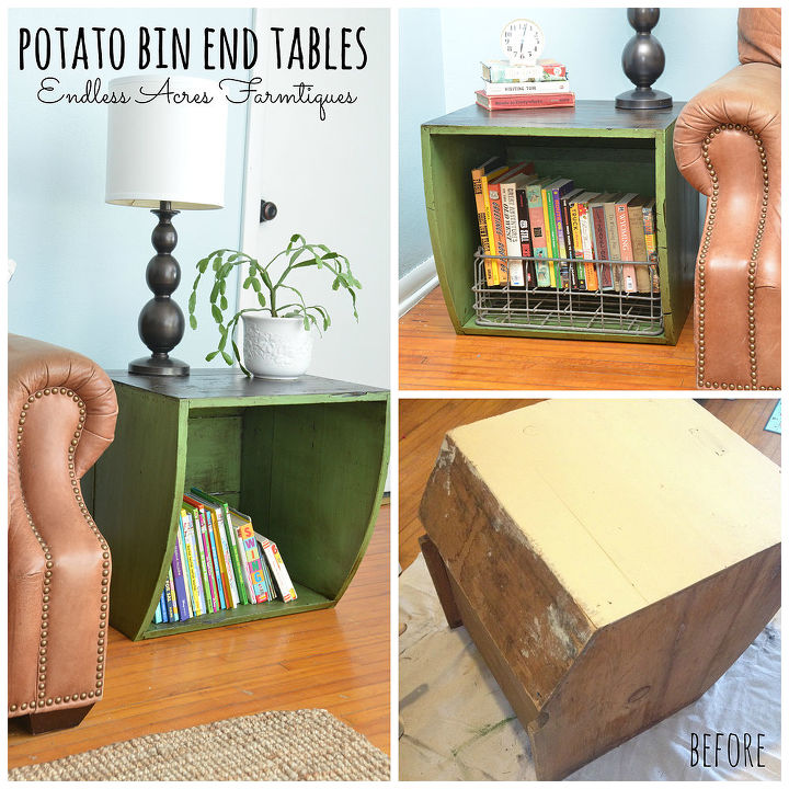 potato bin end tables, diy, home decor, how to, living room ideas, painted furniture, repurposing upcycling, Before After