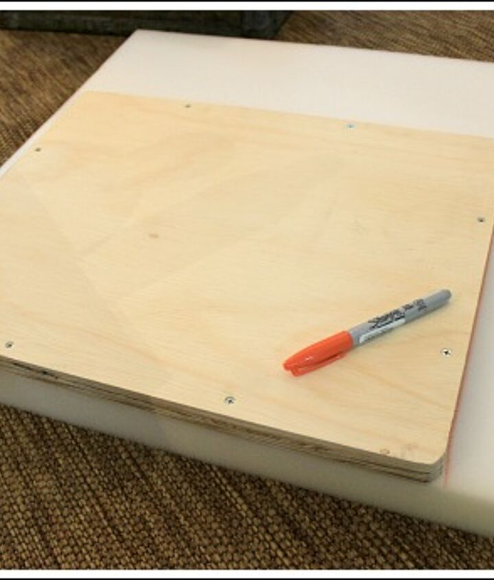 """Next, I cut a piece of  2"""" foam to fit the top of the plywood board.  You can find foam at any craft or sewing store."""