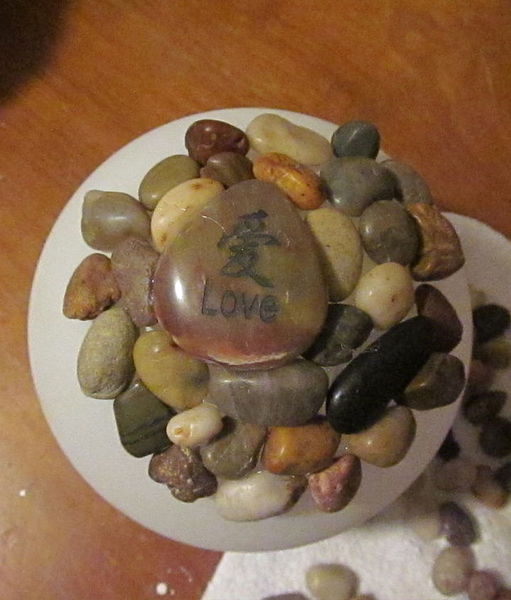 garden globes, crafts, mason jars, Stones from Dollar Tree and a few engraved stones left over from my daughter s wedding