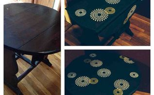 table make over in chalk paint with stenciled top, chalk paint, painted furniture, My table makeover in chalk paint 1st time using stencils on furniture