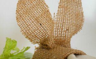 burlap bunnies napkin rings pier 1 knock off, crafts, seasonal holiday decor, wrap and glue ears slip in a napkin full tutorial on blog