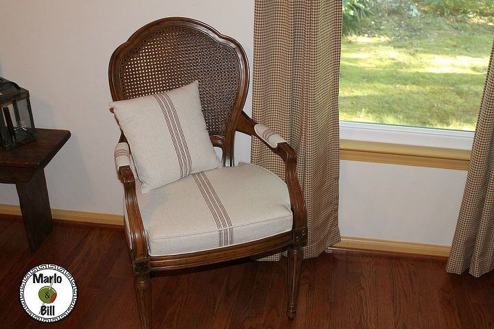 The after $40.00 French Provencal chair recovered in grain sack from Decor Steals deal of the day I scored back in July.