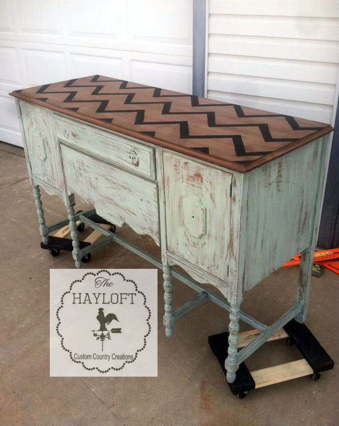 chevron stained buffet with the cutest burlap bow pulls, painted furniture