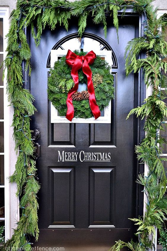 framed christmas wreath on the front door and porch decor, curb appeal, porches, seasonal holiday decor, wreaths
