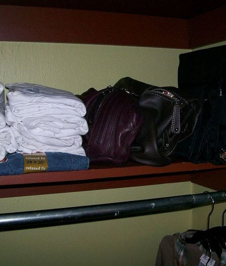 Extra shelving comes in handy for extra clothes, purses, jewelry bags and other essentials