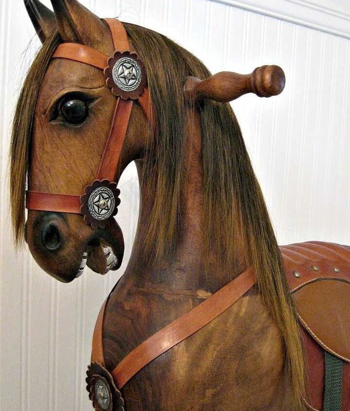 q please help me pinpoint age origin of this wooden rocking horse, home decor, painted furniture