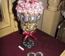 wine glass turned chalk board paint candy bouquet, chalkboard paint, crafts, repurposing upcycling, I did this one for a couple for their anniversary They stayed at my Bed Breakfast