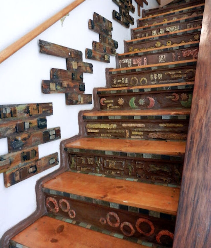 Staircase-I hand formed all tiles from portland cement and carved with a dremel tool.  Risers combined with portland cement and nutmeg colored grout.
