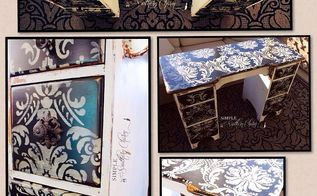 the diva desk, painted furniture, Refinished Diva Stenciled Desk Vanity