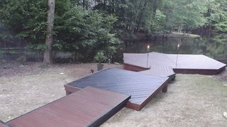 q building a wooden walkway on a sloped ground any ideas, curb appeal, decks, outdoor living, woodworking projects, walkway leading to dock