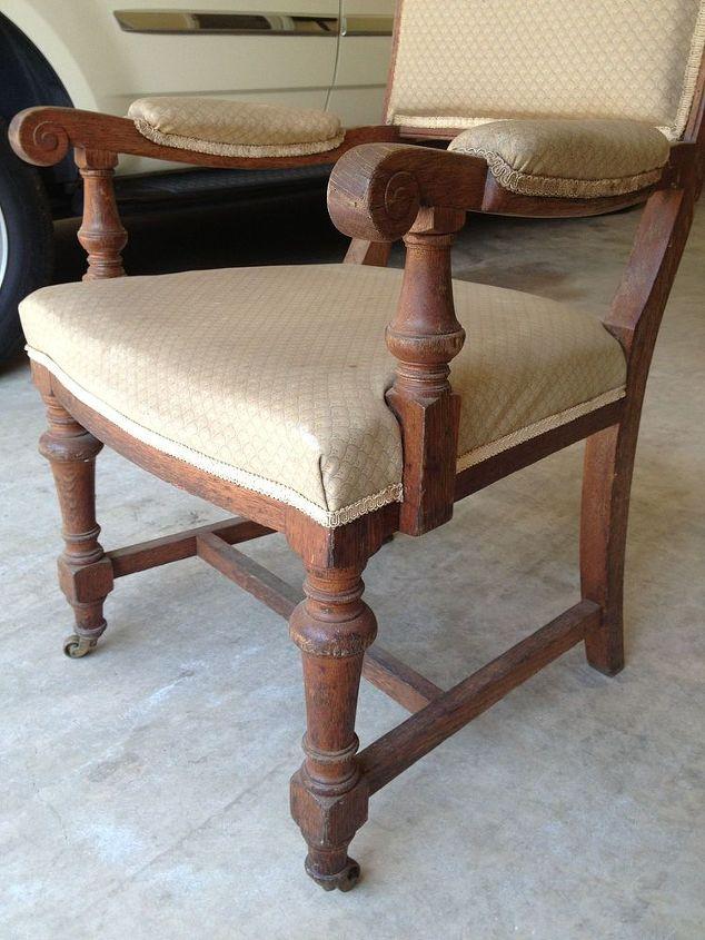 german grain sack chair redo, painted furniture