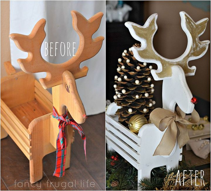 thrift store reindeer makeover christmas dining room table decor, christmas decorations, crafts, seasonal holiday decor