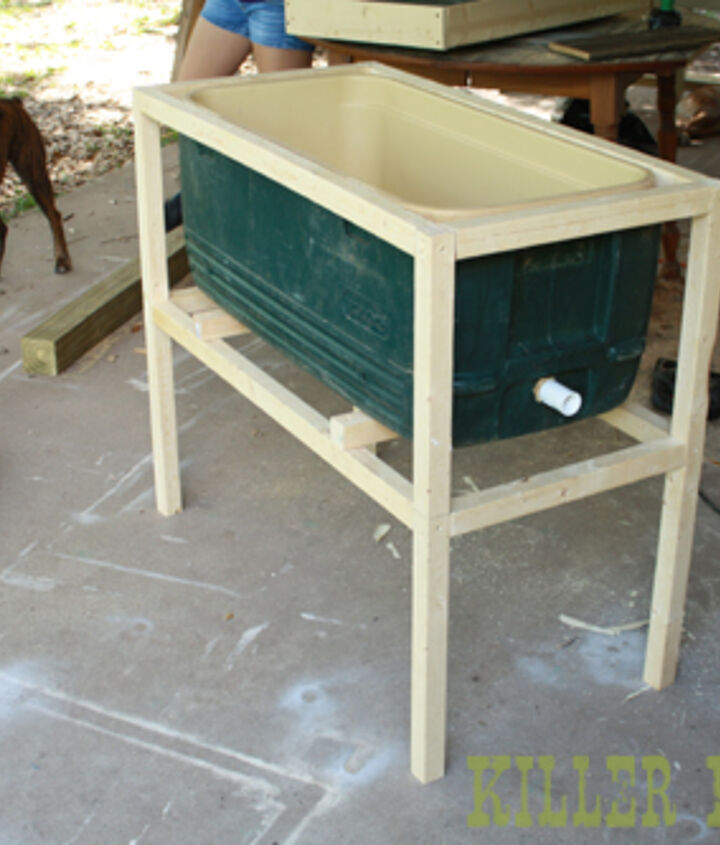 diy cowboy cooler, diy, how to, patio, porches, woodworking projects, 2x2 furring strip frame A piece of threaded PVC extends the drain for the spigot