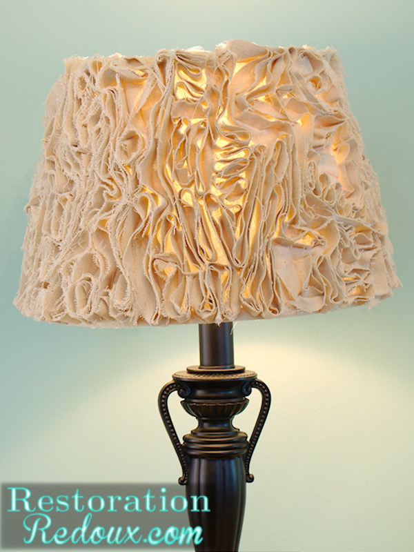 ruffled lamp shade made from a drop cloth, crafts, lighting