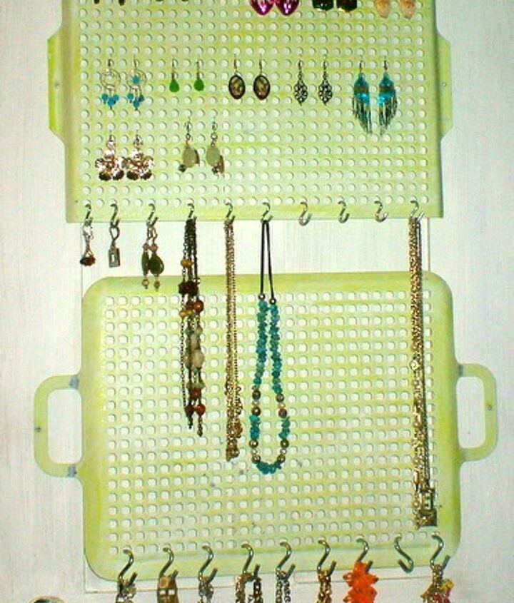 Then I hung S hooks at the bottom of each of the organizers to hang necklaces and bracelets.