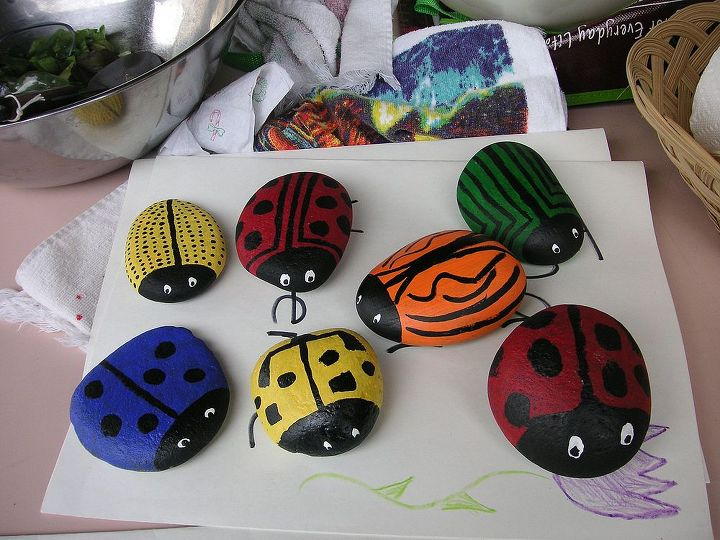 how to make memory ladybug rocks, crafts, Our cute bugs waiting for a home