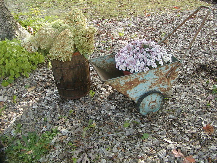 """A late autumn view of the aqua cart was the """"Welcome to White Oak designs vignette for an weekend open house in 2013."""
