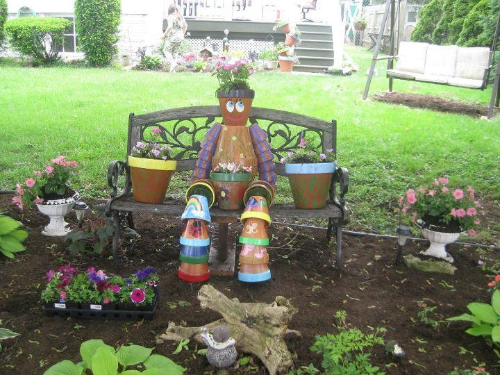 my terra cotta man, gardening, outdoor living