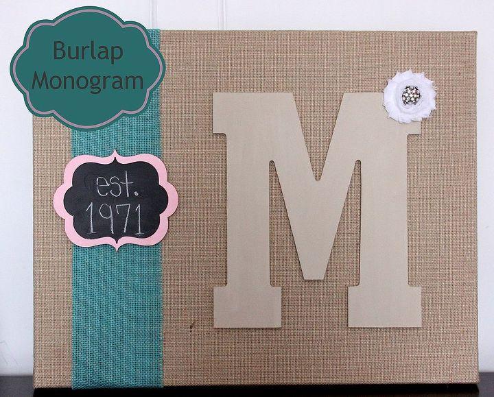 burlap monogram, crafts
