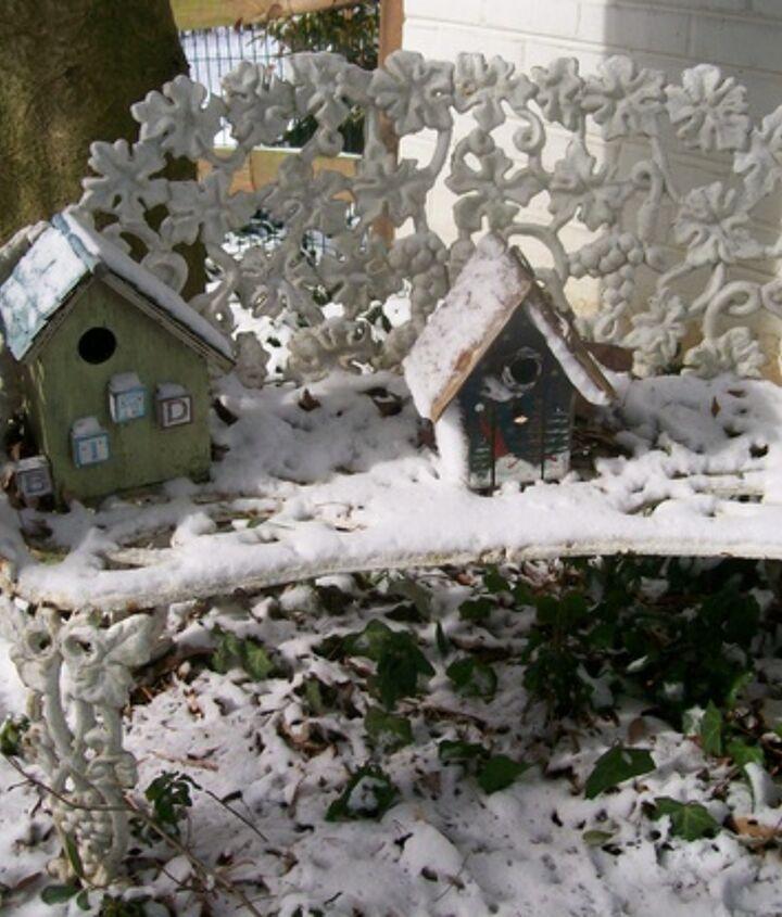 Garden bench in the snow  http://pinterest.com/barbrosen/