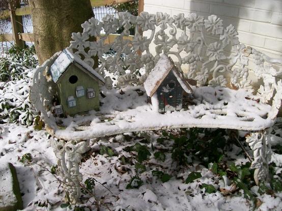 winter garden scenes, gardening, outdoor living, Garden bench in the snow