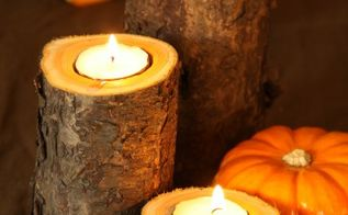 easy fall candle project, crafts, repurposing upcycling, seasonal holiday decor, tools, woodworking projects, Here is the finished product Put the tea light candles in your drilled hole Add seasonal gourds to taste