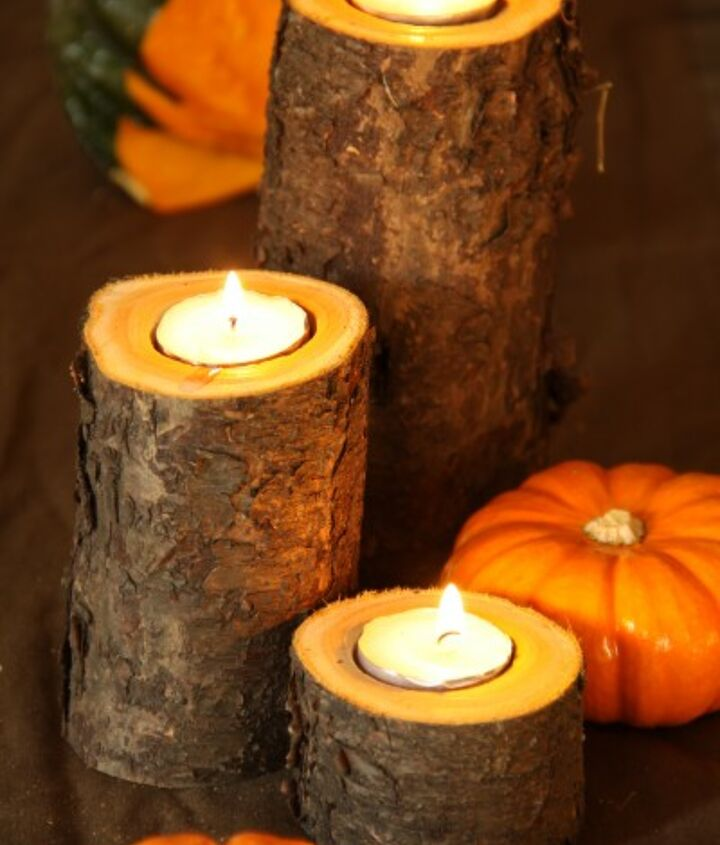 Here is the finished product. Put the tea light candles in your drilled hole. Add seasonal gourds to taste.