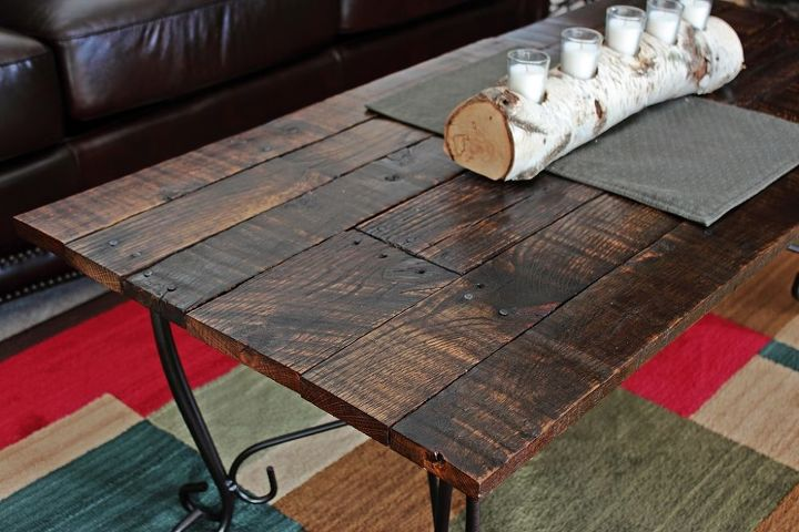 glass top coffee table frame updated with an oak pallet top, painted furniture, pallet, repurposing upcycling, woodworking projects