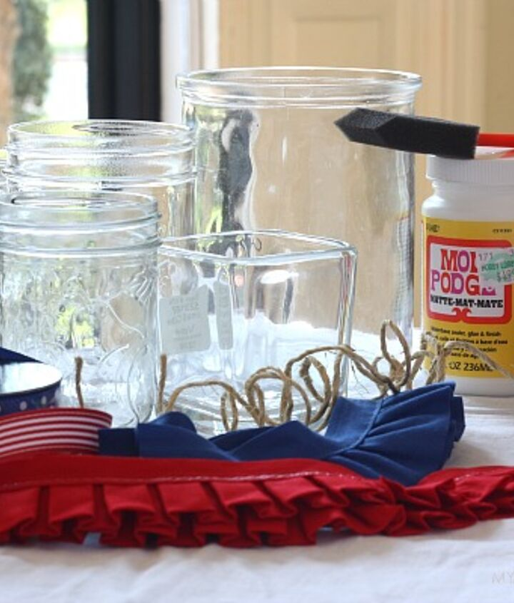 To make them you need glass jars, ribbons, trim, jute twine, ModPodge, a brush and a glue gun. Oh, and scissors too.