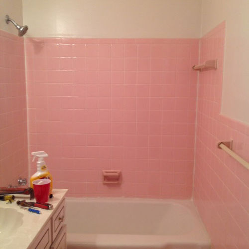 bathroom tile for walls how do i remove the adhesive from 1950 s pink wall tiles 16762