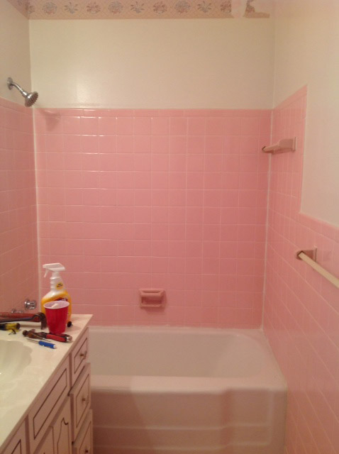 How do I remove the adhesive from 1950\'s pink wall tiles? | Hometalk