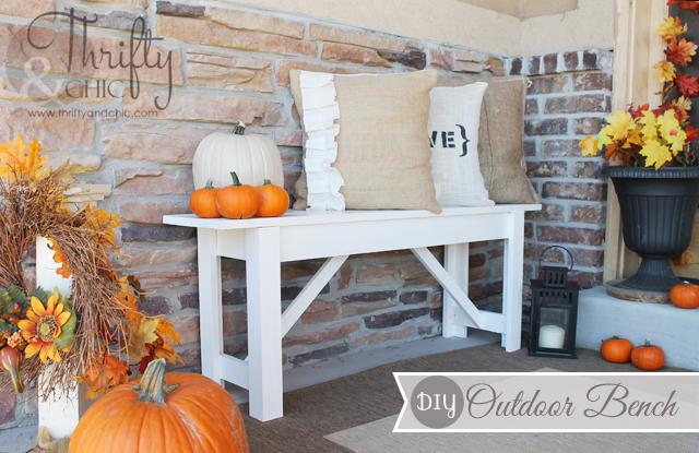 fall porch and diy outdoor bench, porches, seasonal holiday decor, Fall Front Porch