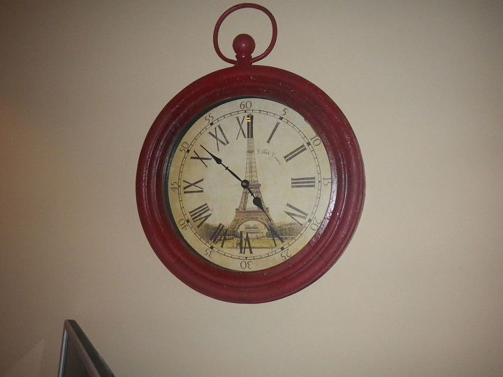 Wanted a red clock for office.  Found this one on the clearance aisle, took it home and spray painted red.