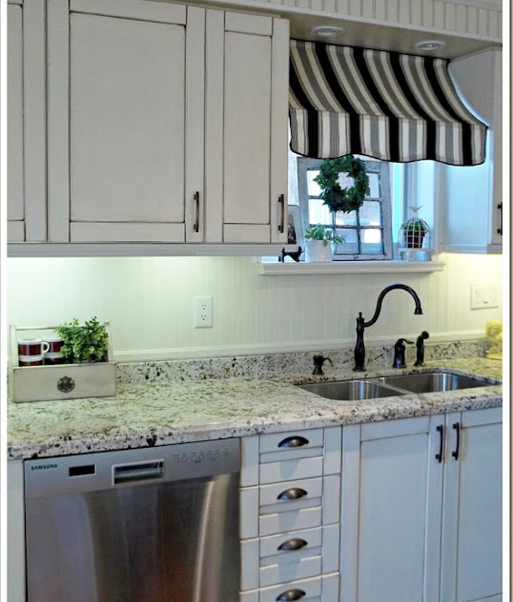 Kitchen awning and bronze faucet