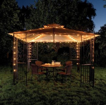 Lining gazebos and free standing structures is easy. Any size light will do although I recommend C7 or C9 bulbs - bigger is brighter! Great for parties, dinners, and simple down time.