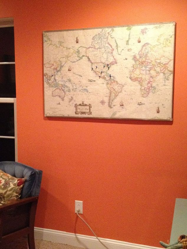 canvas push pin map, craft rooms, crafts, home decor, home office