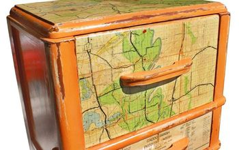1 of 1 custom orange vintage nighstand featuring a vintage shreveport map, chalk paint, painted furniture, I applied the vintage map with mod podge I had to be careful because so of the folks were already trying to separate Especially after they got moist