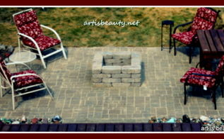 finished brick patio amp fire pit, concrete masonry, outdoor living, patio