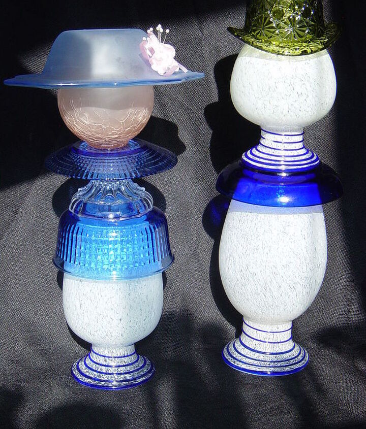 The Mrs. out for a stroll with her man.  When I found the three matching vases, I knew they needed to stay together. Assembled by Nita Hooper.
