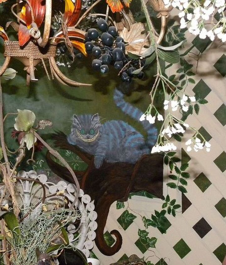 this is the room that is totally painted.  This part is the Mad Hatter section.  The grapevines and small branches are real.